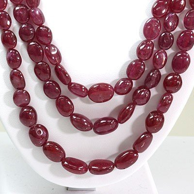Natural Ruby Necklace 4 Rows Oval Cut 743.65 ctw L-4 - 2