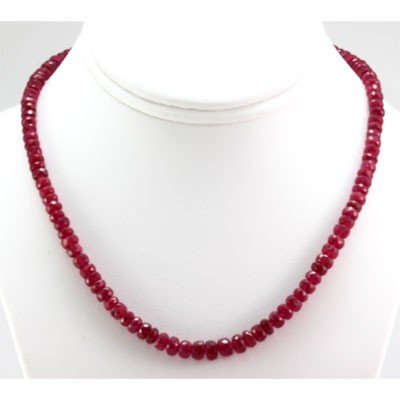 Natural Ruby Necklace 129.82ctw with brass clasp - 2