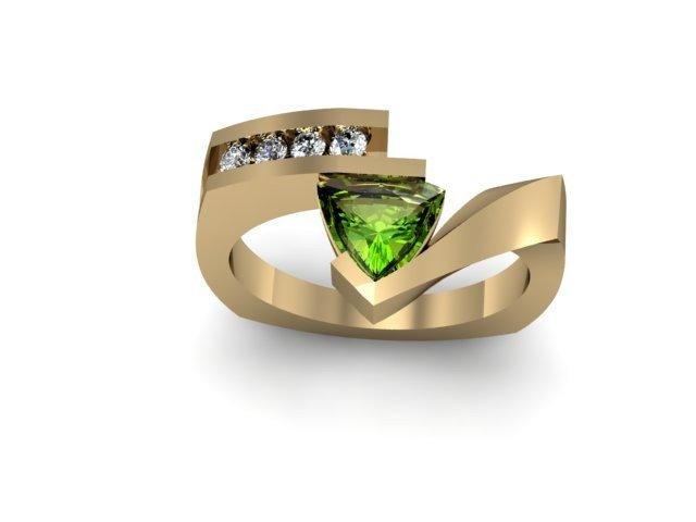 Genuine 0.72 ctw Peridot Trillion Diamond Ring 14k