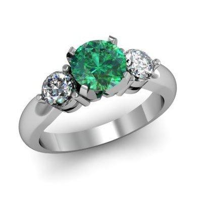 Genuine 1.50 ctw Emerald Diamond Ring W/Y Gold 14kt