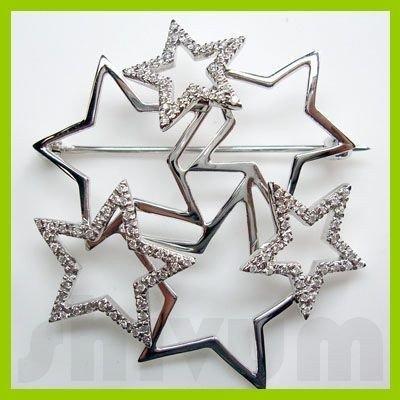 Genuine 0.36 ctw 14K Diamond Studded Fashion Brooch I1
