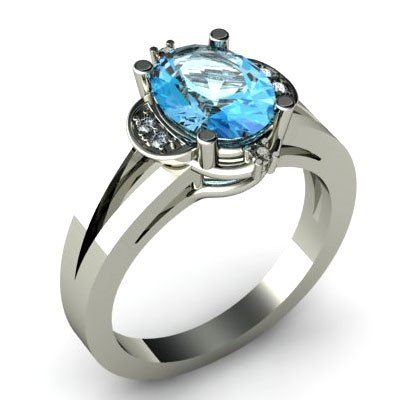 Genuine 1.16 ctw Aqua Marine Diamond Ring W/Y Gold 14kt