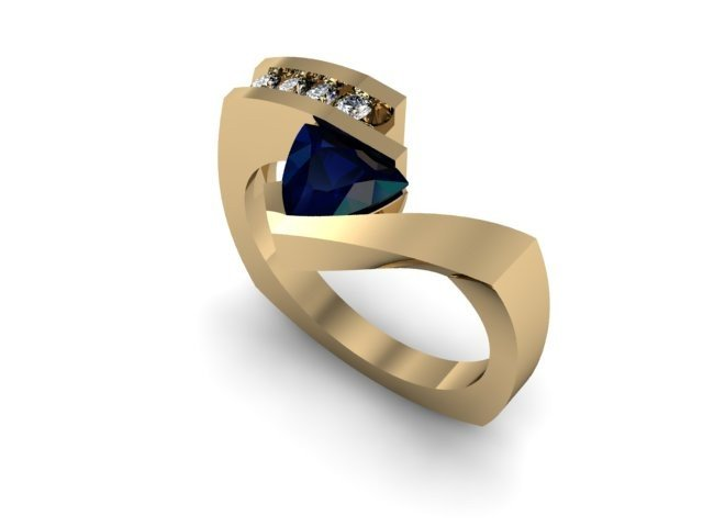 Genuine 0.82 ctw Sapphire Trillion Diamond Ring 14k