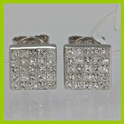 Genuine 0.980 ctw Diamond Earring 18kt Gold-White