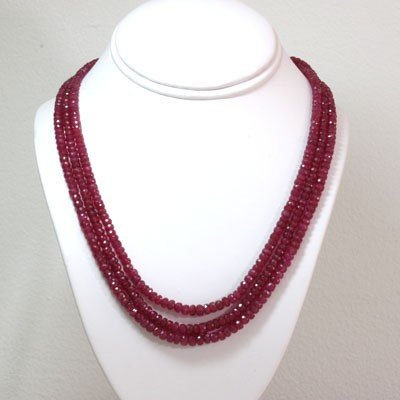 Natural Ruby Necklace 3 Rows Round Cut 359.05 ctw L-3