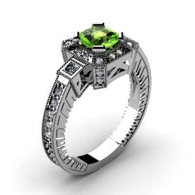 Genuine 1.50 ctw Peridot Diamond Ring 14k