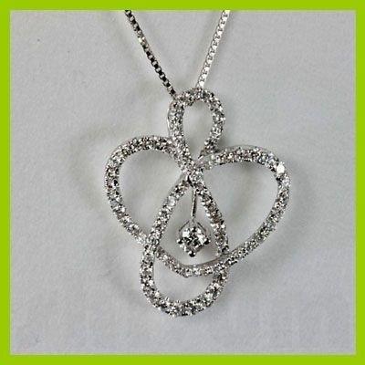 Genuine 1.38 ctw Heart Diamond Pendant 18kt Gold-white