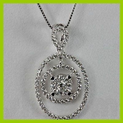 Genuine 0.81 ctw Diamond Pendant 18kt Gold-White