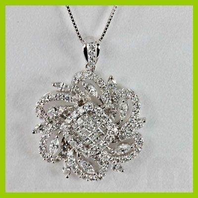 Genuine 2.07 ctw Princess Cut Diamond Pendant 18kt