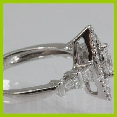 Genuine  0.65 ctw Marque & DiamondRing 18KT White Gold