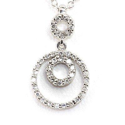 Genuine 0.12 ctw White Diamond 3 Circles Necklace 14k