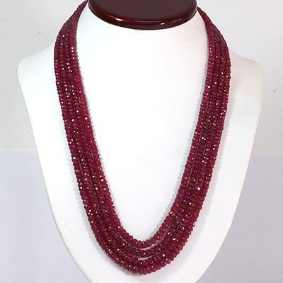 Natural Ruby Necklace 4 Rows Round Cut 588.50 ctw L-4