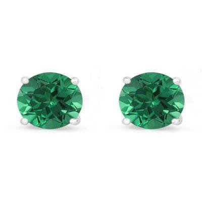 Genuine 3.40 ctw Emerald Stud Earring 14k 0.96g