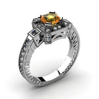 Genuine 1.48 ctw Citrine Diamond Ring 10k