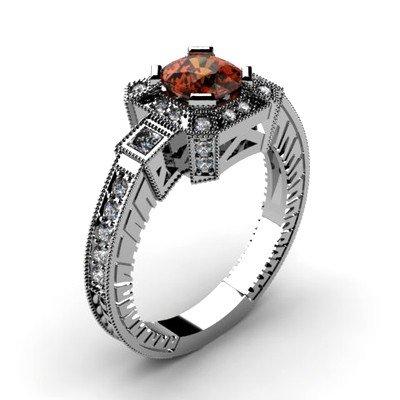 Genuine 1.68 ctw Garnet Diamond Ring 14k