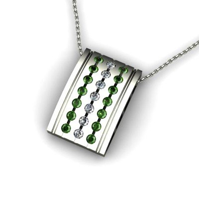 Genuine 0.78 ctw Emerald Diamond Pendant 14k