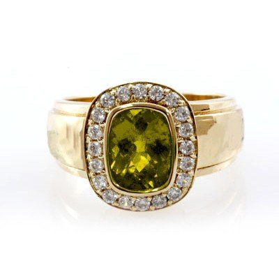 Genuine 2.0 ctw Green Tormaline Diamond Ring 14k