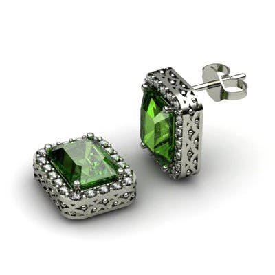 Genuine 4.60 ctw Green Tourmaline Diamond Earring 14k
