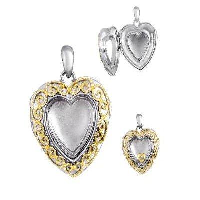 "Genuine 18k Necklace Heart Locket 18"" Diamond Necklace"