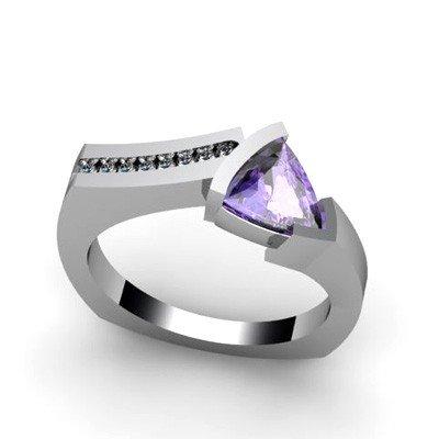 Genuine 1.03 ctw Tanzanite  Euro Shank Diamond Ring 14k