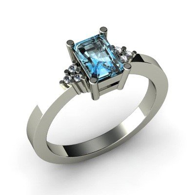Genuine 0.56 ctw Aqua Marine Diamond Ring 14k