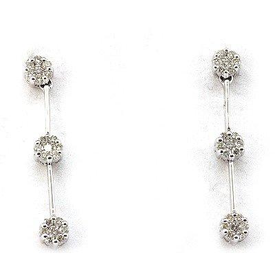 Genuine 0.66 ctw Diamond 3 Raw Flower Earring 14k