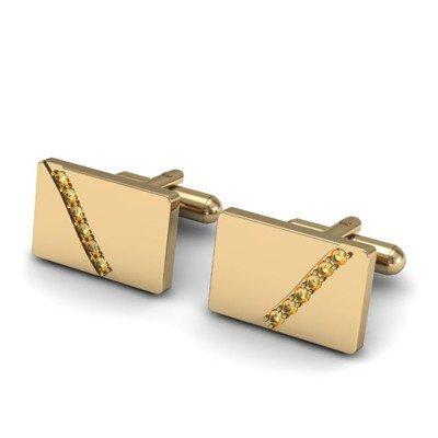 Genuine 0.48 ctw Citrine Cufflink 14k W/Y Gold