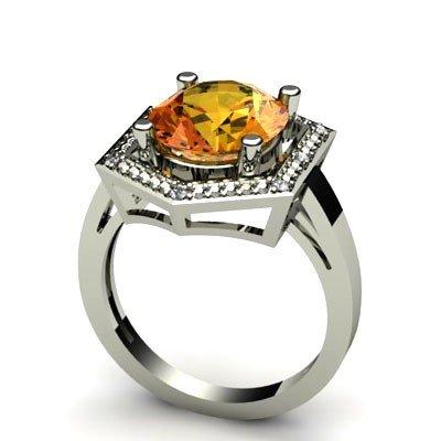 Genuine 4.28 ctw Citrine Diamond Ring W/Y Gold 14kt