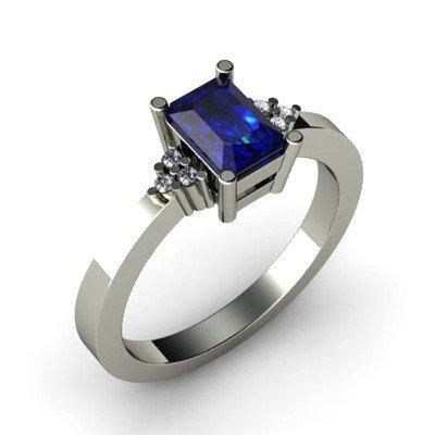 Genuine 0.81 ctw Sapphire Diamond Ring 10k