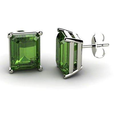 Genuine 5.60 ctw Green Tourmaline Earring 14k W/Y Gold