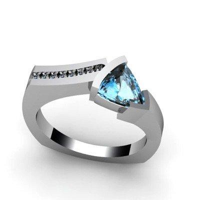 Genuine 1.20 ctw Topaz  Euro Shank Diamond Ring 10k