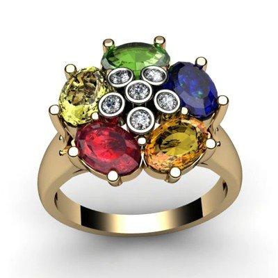 Genuine  2.93 ctw 14k Multi-Color Gemstone Diamond Ring