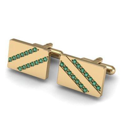 Genuine 1.12 ctw Emerald Cufflink 14k W/Y Gold