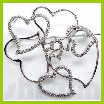 Genuine 0.31 ctw 14K Diamond Studded Fashion Brooch I1
