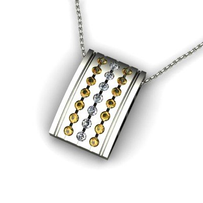 Genuine 0.78 ctw Citrine Diamond Pendant 14k