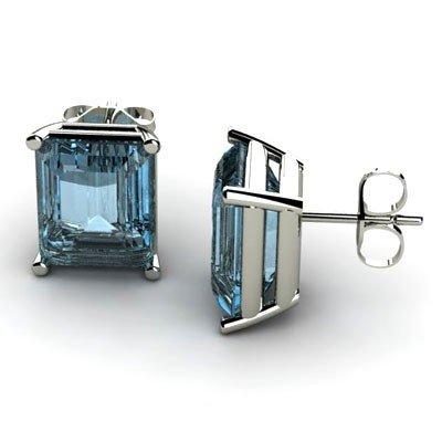 Genuine 9.50 ctw Aqua Marine Earring 14k W/Y Gold