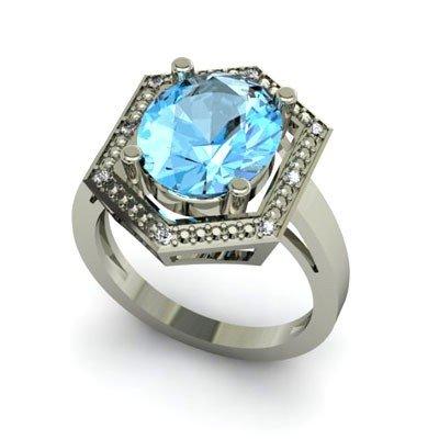 Genuine 6.08 ctw Topaz Diamond Ring Whte/Yllw Gold 14kt