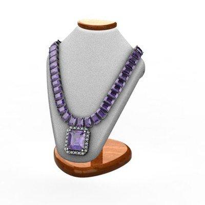 Genuine 58.14 ctw Tanzanite Diamond  Necklace 14k