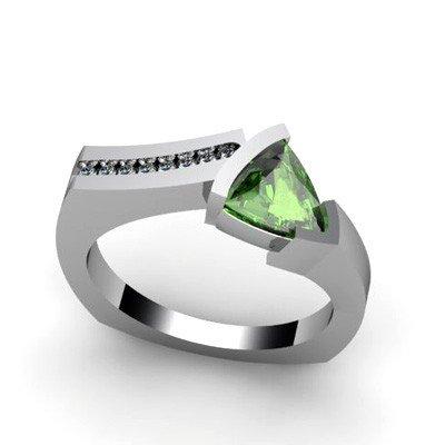 Genuine 0.93 ctw Green Tourmaline Diamond Ring 14k