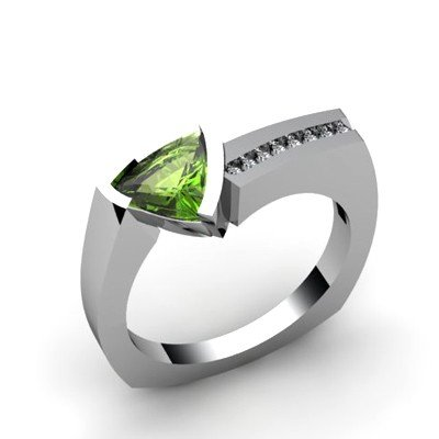 Genuine 1.08 ctw Peridot  Euro Shank Diamond Ring 10k
