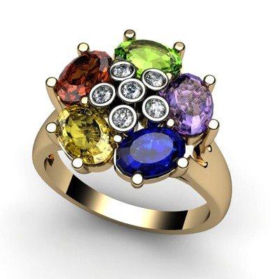 Genuine  2.76 ctw 10k Multi-Color Gemstone Diamond Ring