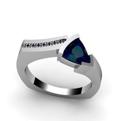 Genuine 1.08 ctw Sapphire  Euro Shank Diamond Ring 14k