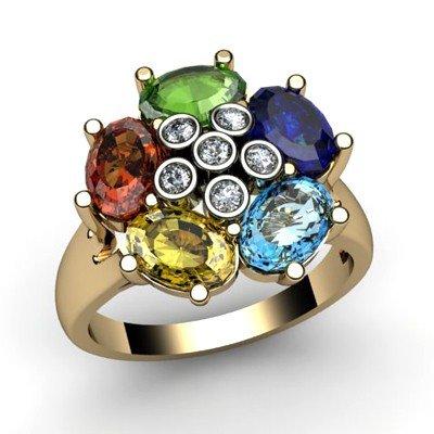 Genuine  2.85 ctw 14k Multi-Color Gemstone Diamond Ring