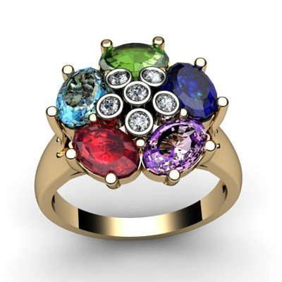 Genuine  2.9 ctw 14k Multi-Color Gemstone Diamond Ring
