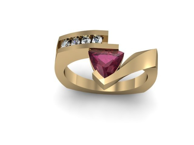 Genuine 0.82 ctw Ruby Trillion Diamond Ring 10k