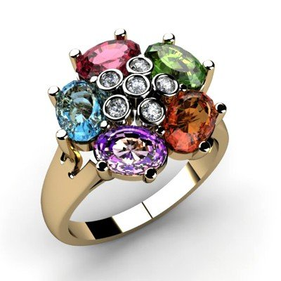 Genuine  2.85 ctw 10k Multi-Color Gemstone Diamond Ring