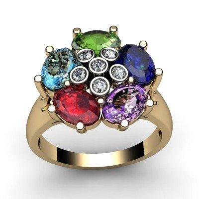 Genuine  2.9 ctw 10k Multi-Color Gemstone Diamond Ring