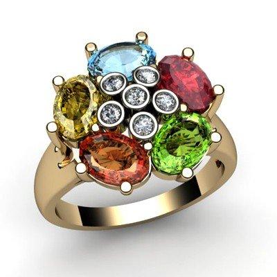 Genuine  2.73 ctw 14k Multi-Color Gemstone Diamond Ring