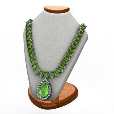Genuine 42.10 ctw Peridot Necklace W/Y Gold 14k