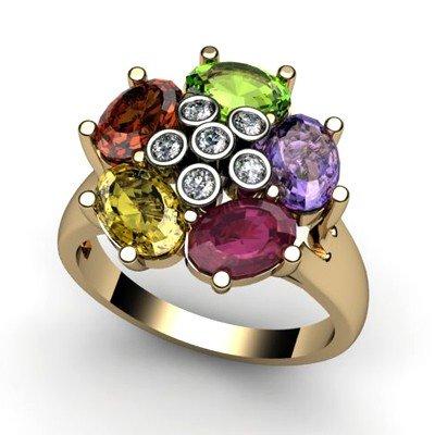 Genuine  3.18 ctw 14k Multi-Color Gemstone Diamond Ring